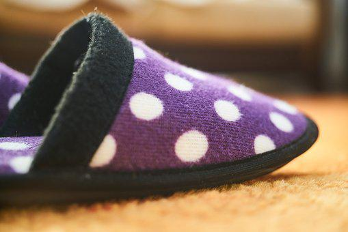 Slippers, Purple, Spotted, Carpet, Foot, Hot, Cold