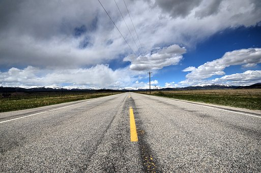 Clouds, Highway, Road, Landscape, Countryside, Horizon