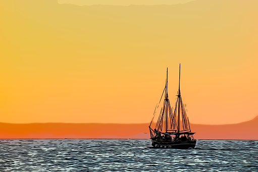 Boat, Sunset, Sea, Water, Ocean, Evening, Ship, Sail