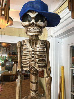 Skeleton With Baseball Hat