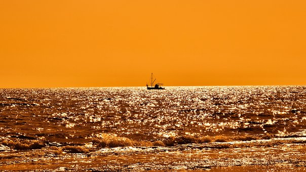 Sunset, Fishing Boat, Shadow, Sunset Colors, Sea, Sky