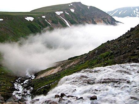 Waterfall, Spillway, Autumn, Fog, Mountain Stream