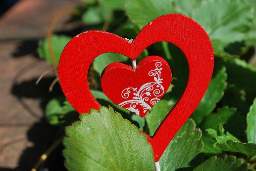Heart, Strawberries, Plant, Composition, Handicraft