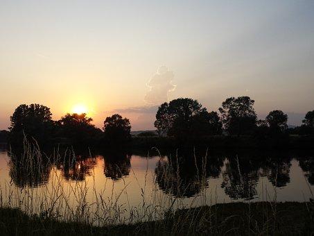 Lake, Sunset, Abendstimmung, Clouds, Nature, Water