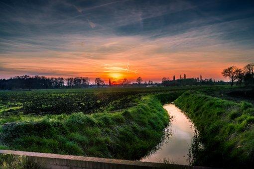 Landscape, Sunset, Sun, Twilight, Nature, Air, Clouds