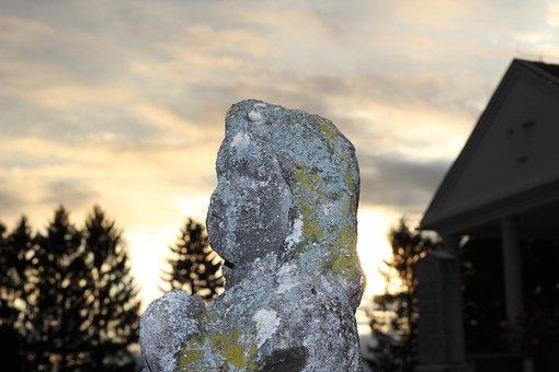 Stone Monument, Cemetery, Evening, Symbol, Religion