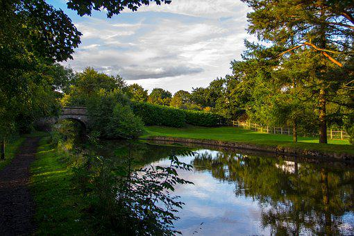Canal, Forest, Sky, Nature, Water, Tree, Green, Outdoor