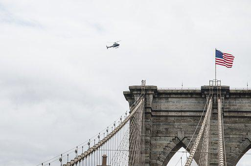 Usa, Flag, Helicopter, Tourism, Flights, New York