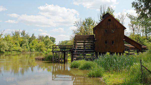 Old Mill, Water Mill, Wooden, Cottage, River, Water