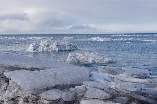 Sea, Ice, Beach, Seascape, Surf, Coast, Silence