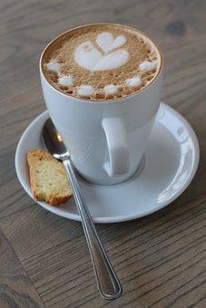 Food, Coffee, White, Cup, Spoon, Drink, Beverage, Latte