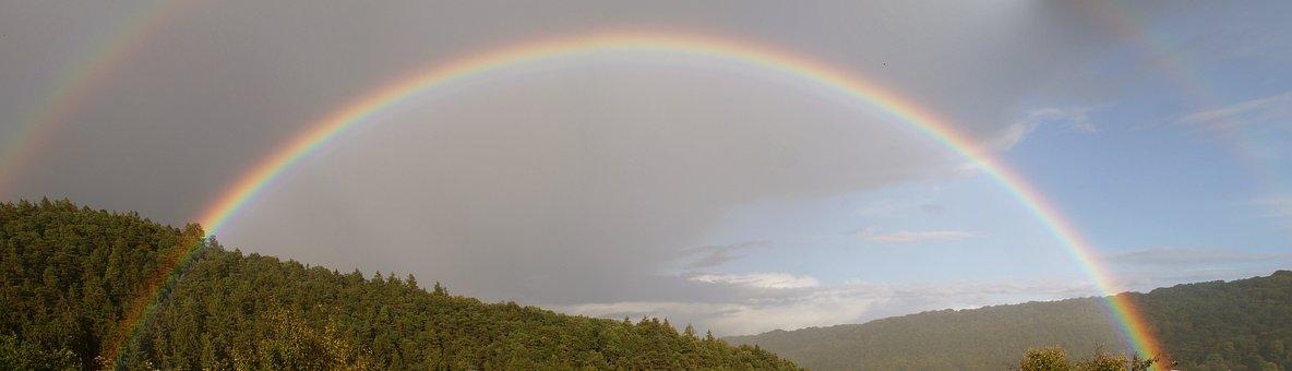 Rainbow, Sky, Rain, Mood, Landscape, Color