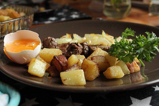 Potato Cubes, Parsley, Egg, Dinner, Plate, Potatoes
