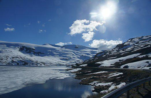 Glacial Lake, Ice, Snow, Norway, Blue, Glacier Water