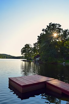 Dock, Lake, Sunny, Tree, Sunlight, Water, Nature