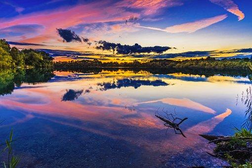Lake, Sunset, Bavaria, Abendstimmung, Clouds, Water