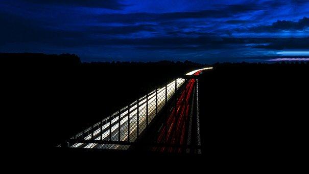 Highway, Light Traces, Long Exposure, Night, Spotlight