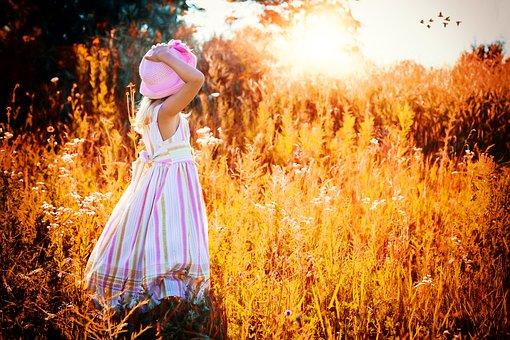 Girl, Sunset, Birds, Little, Autumn, Sunrise, Yellow
