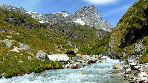 Alps, Matterhorn, Nature, River