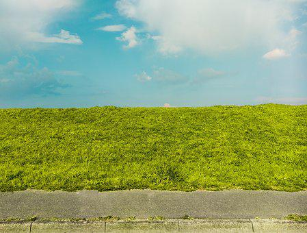 Sky, Texture, Green, Meadow, Hill, Road, Clouds, Asset