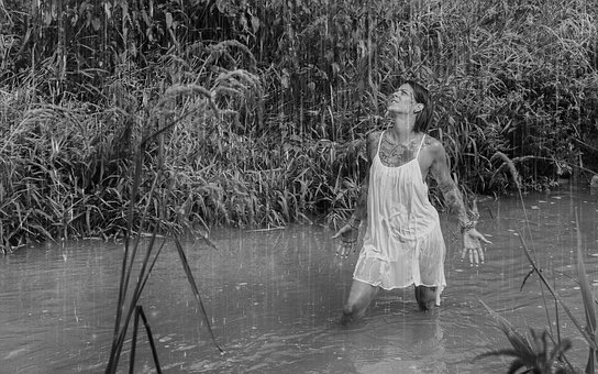 Summer, River, Rain, Model, Tattoo, Bad, Water