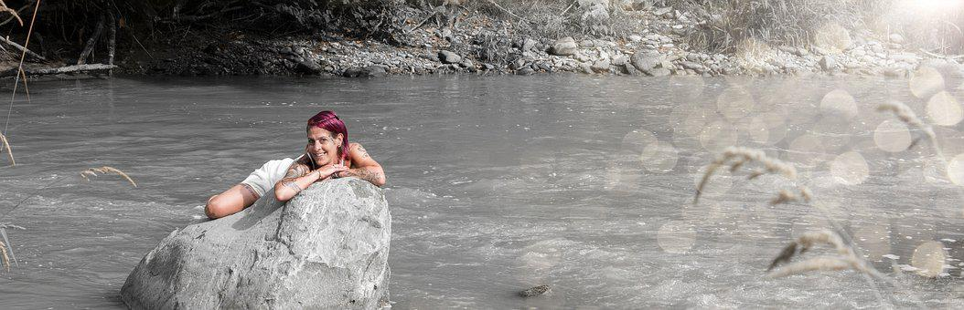 Summer, River, Model, Bad, Water, Romantic, Nature