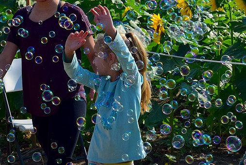 Girl, Playing, Bubbles, Child, Fun, Happy, Childhood