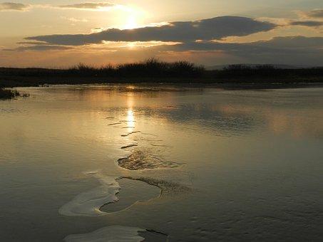 Lake, Sunset, Reflection, Clouds, Nature, Water