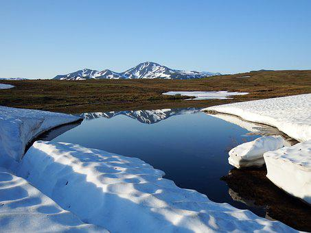 Volcano, Lake, River, Reflection, Mountains, Landscape
