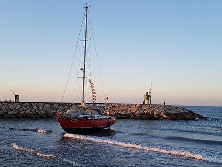 Dawn, Run Aground, Sailboat, Boat, Port, Candles, Mast