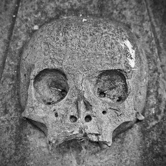 Skull And Crossbones, Tombstone, Mystical, Creepy, Grey