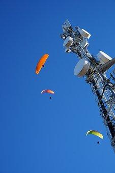Blue Sky, Wind, Sky, Paragliding, Sunlight, Sun, High