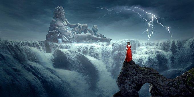 Fantasy, Waterfall, Landscape, Mystical, Mood, Sky