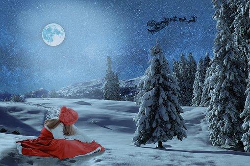 Girl, Santa Claus, Slide, Reindeer, Snow