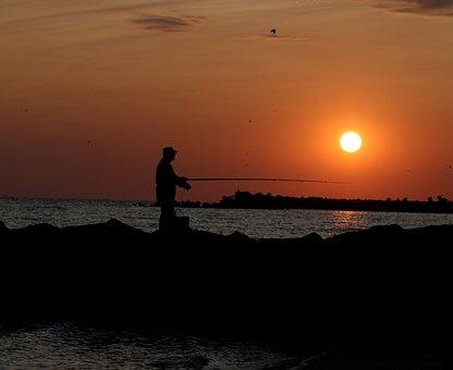 Sunrise, Fisherman, Sun, Water, Great, Summer, Shadows