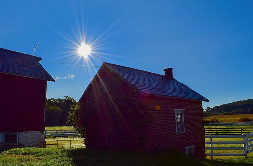 Barn, Sun, Sunrise, Sky, Blue, Rural, Nature