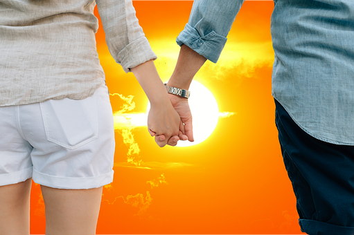 Lovers, Sunset, Together, Hand In Hand, Love
