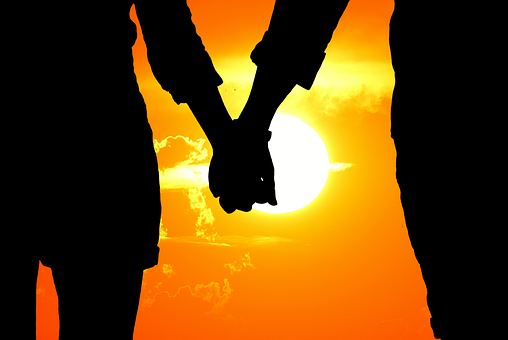 Lovers, Silhouette, Sunset, Together, Hand In Hand