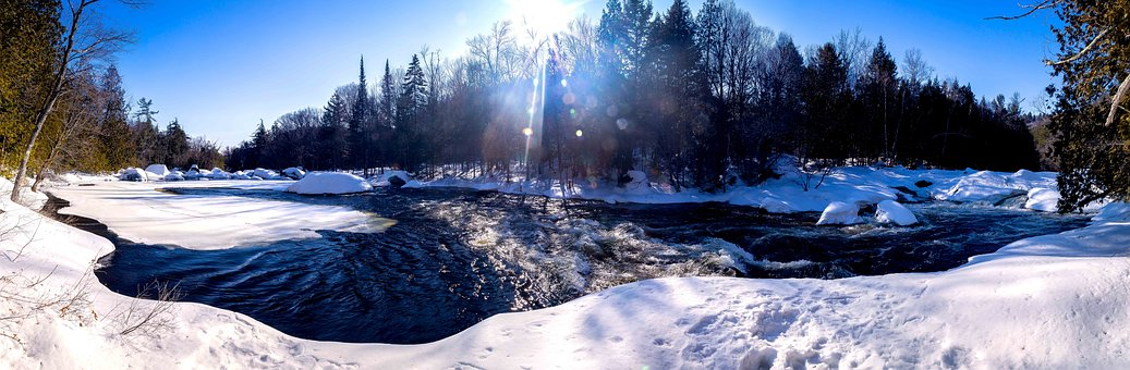 River, Water, Winter, Whirlpool, Blue Sky, Trees