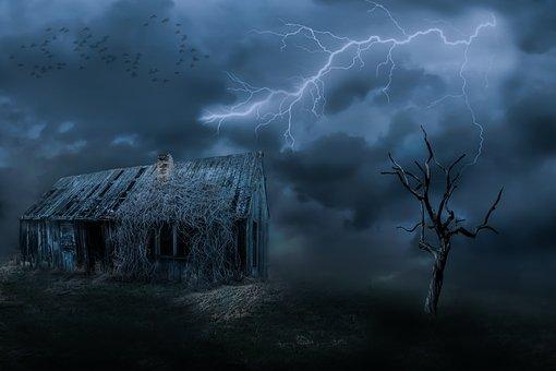 Old House, Leave, Dark Clouds, Gewitterstimmung, Sky