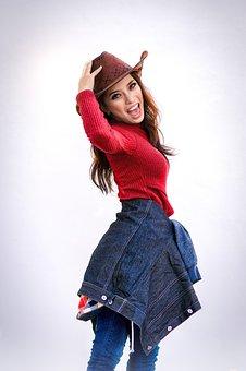 Girl, Denim, Hat, Cowgirl, Street, Dress, Beauty