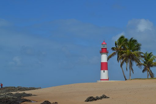 Lighthouse, Beach, Coconut Trees