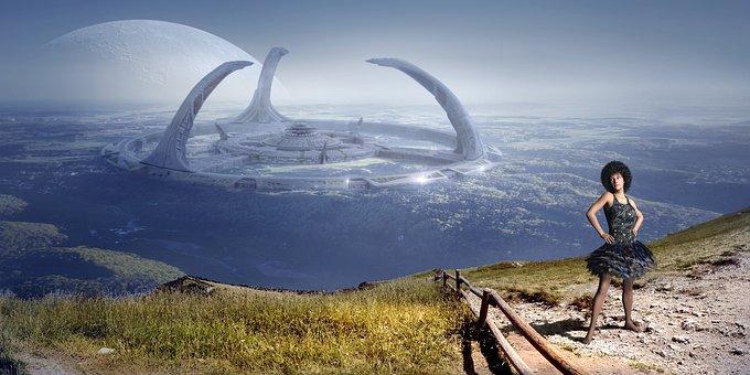 Fantasy, Landscape, Woman, Building, Science Fiction