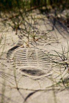 Shoe Print, Sand, Grass, Reprint, Footprint, Sand Road