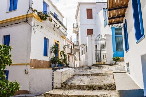 Greece, Skopelos, Chora, Village, Street, Alley, Houses