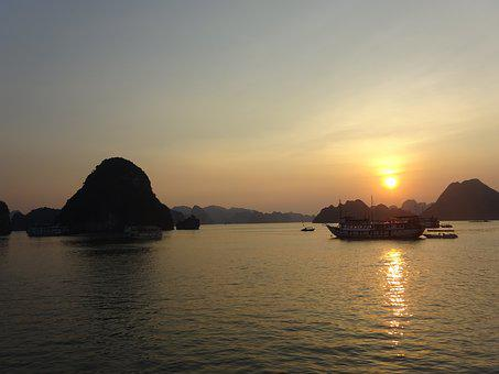 Vietnam, Ha Long Bay, Sunset, A Boat Journey
