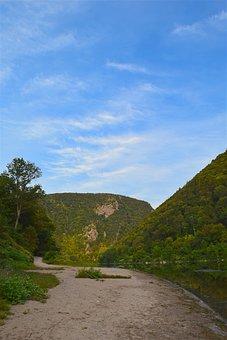 Mountain, River, Shore, Nature, Landscape, Travel
