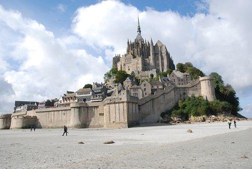 Island, Mt St Michel, Mont Saint Michel, Sea, Brittany
