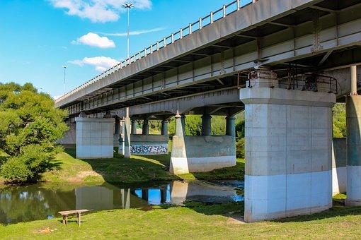 Bridge, Car, River, Road Bridge, Beach, Summer, Russia