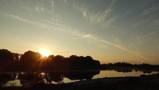 River, Sunset, Nature